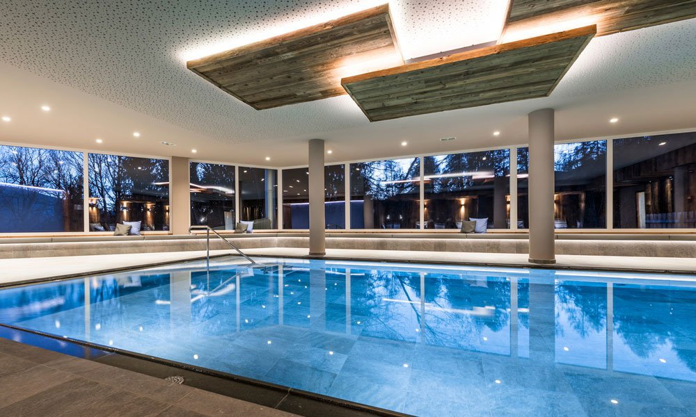 Relax in the spacious spa area in the Spa Hotel Dolomites